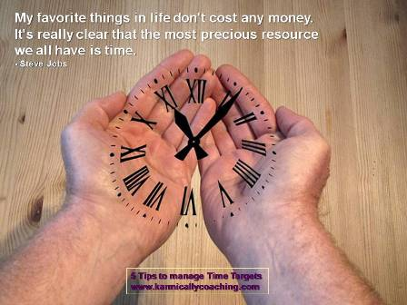 Hand holding imaginary clock with Steve Jobs quote on time