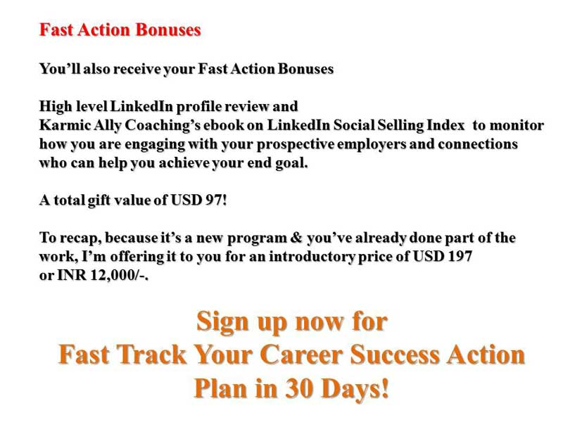 Fast Action Bonus for Career Coaching Service