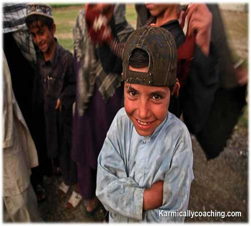 Young underprivileged boy smiling