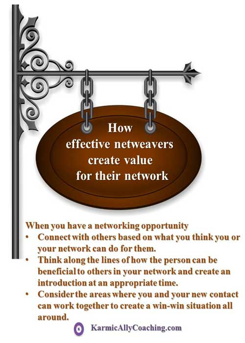Effective netweaving tips from Karmic Ally Coaching