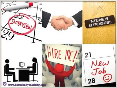 Collage of  6 steps leading to a job interview