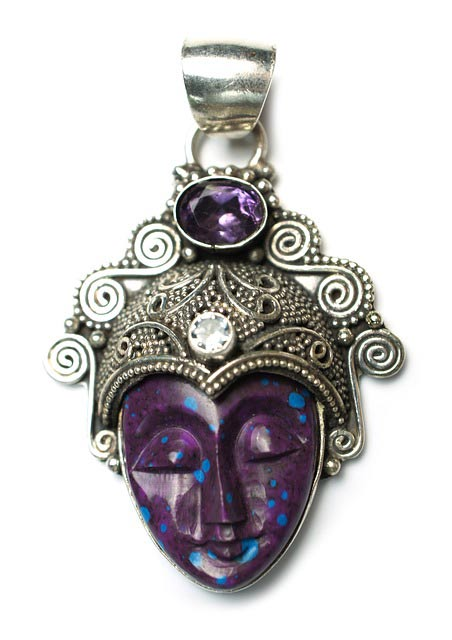 Amethyst and stone Asian Goddess pendant