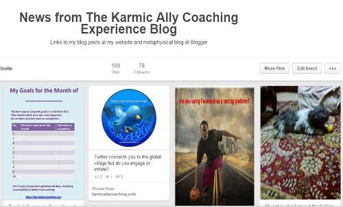 Karmic Ally Coaching website board on Pinterest