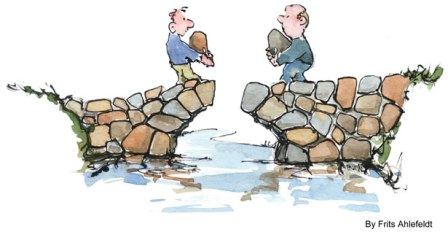 2 guys trying to build a bridge with huge stones in their arms- negotiate to win Karmic Ally Coaching