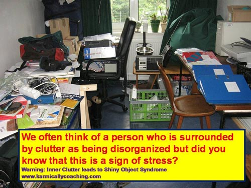 disorganized living space full of clutter