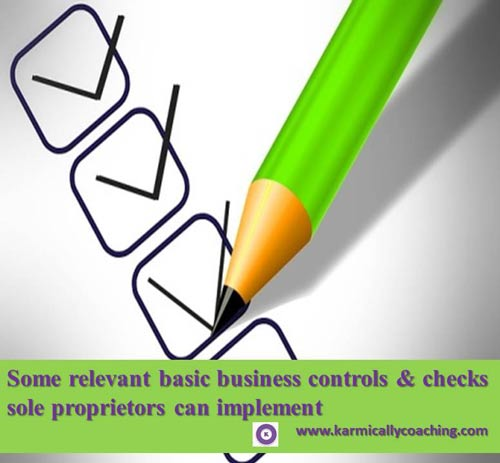 Basic controls checklist for sole proprietors