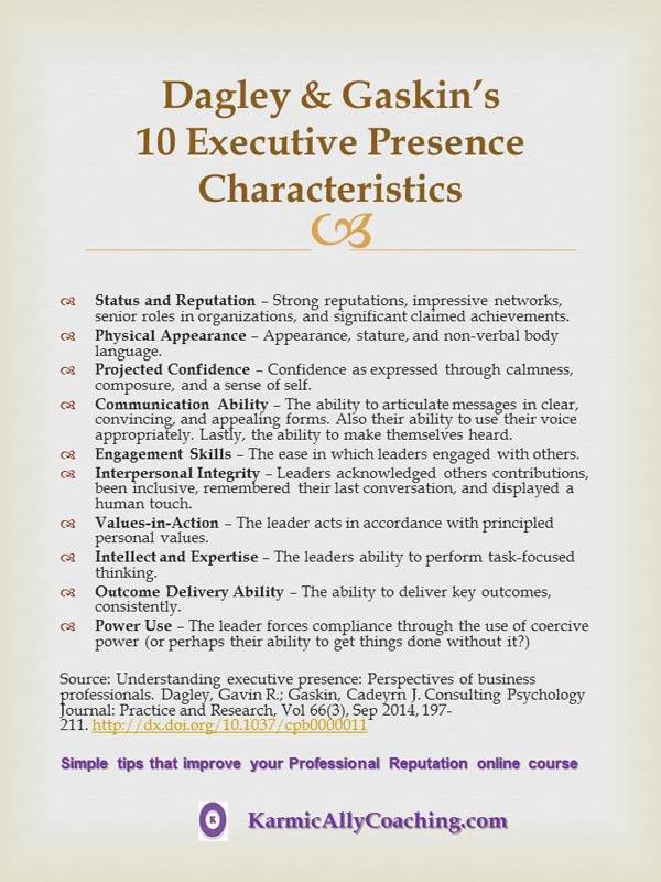 Dagley & Gaskin's Executive Presence Characteristics