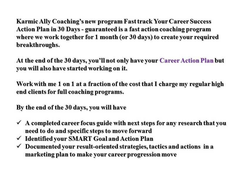 Content of Fast Track Career Coaching Action Plan